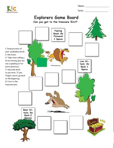 ESL Vocabulary Activity Board Game Template Pic (small)