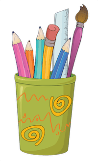 pencil cup with school supplies