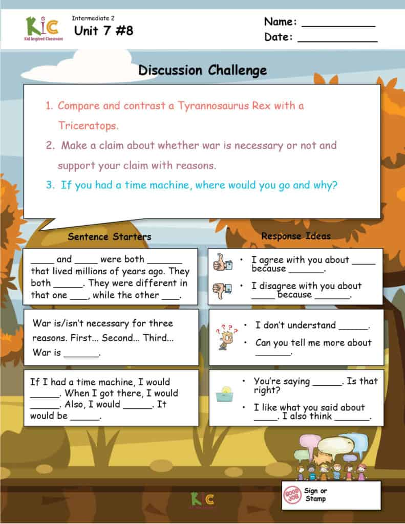 ESL Discussion Teaching Resource with Sentence Stems