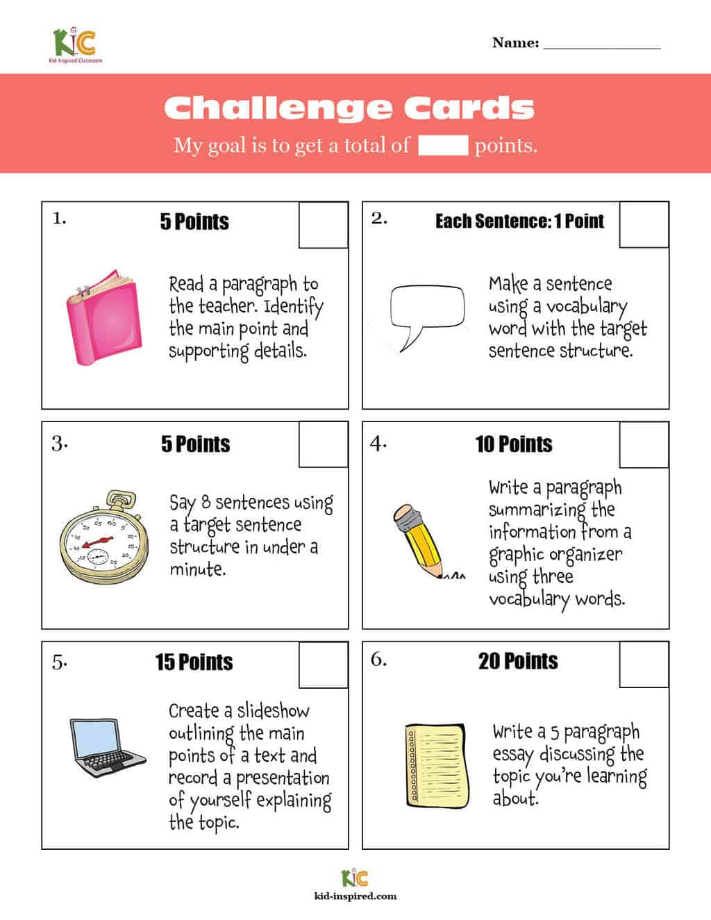 Choice Board Challenge Cards for English Learners