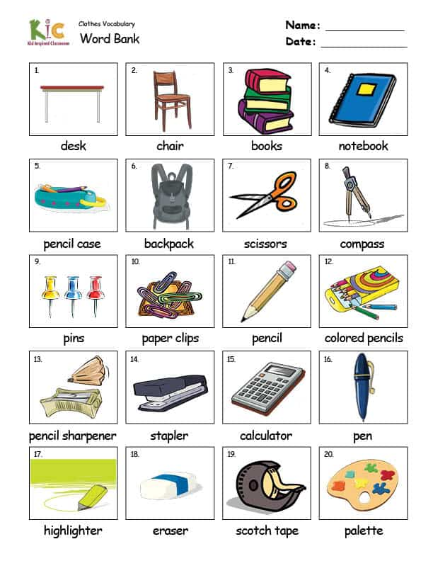 Vocabulary Theme Lesson Word Bank Practice from the ESL Curriculum Membership
