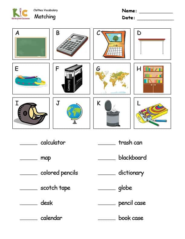 Vocabulary Theme Lesson Matching Worksheet from the ESL Curriculum Membership