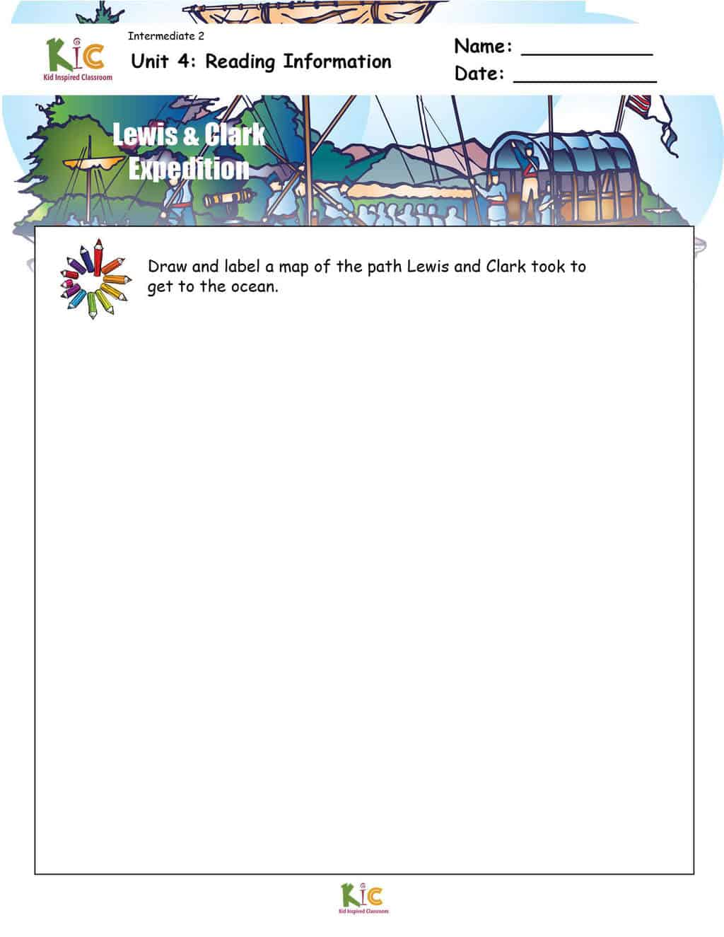 Lewis and Clark Illustrate Graphic Organizer for ESL Reading Comprehension