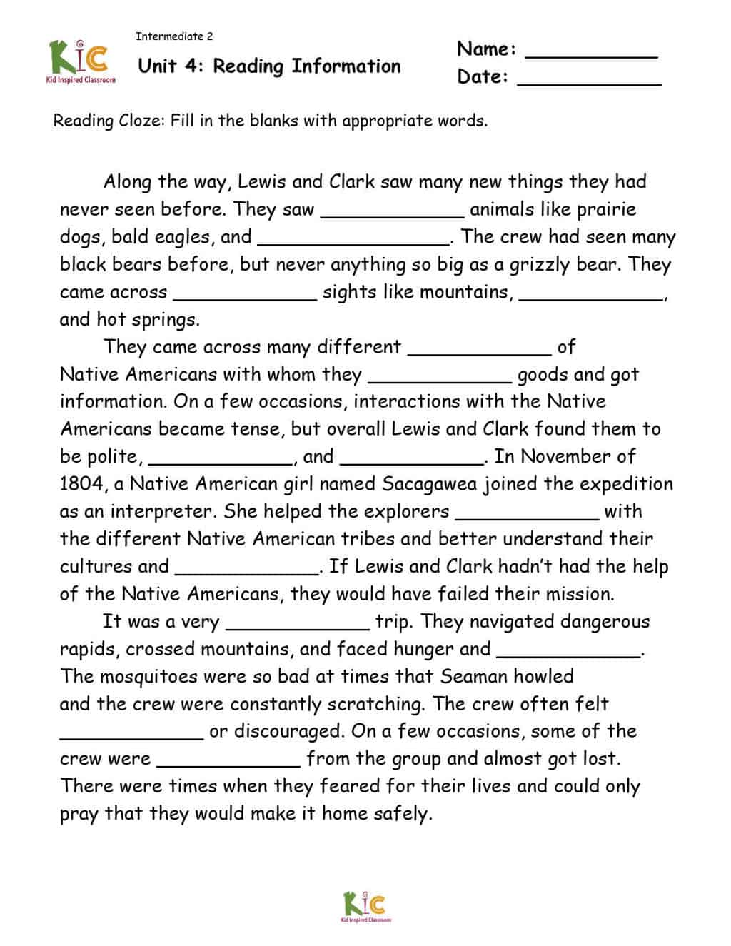 Lewis and Clark Reading Cloze for ESL Reading Comprehension