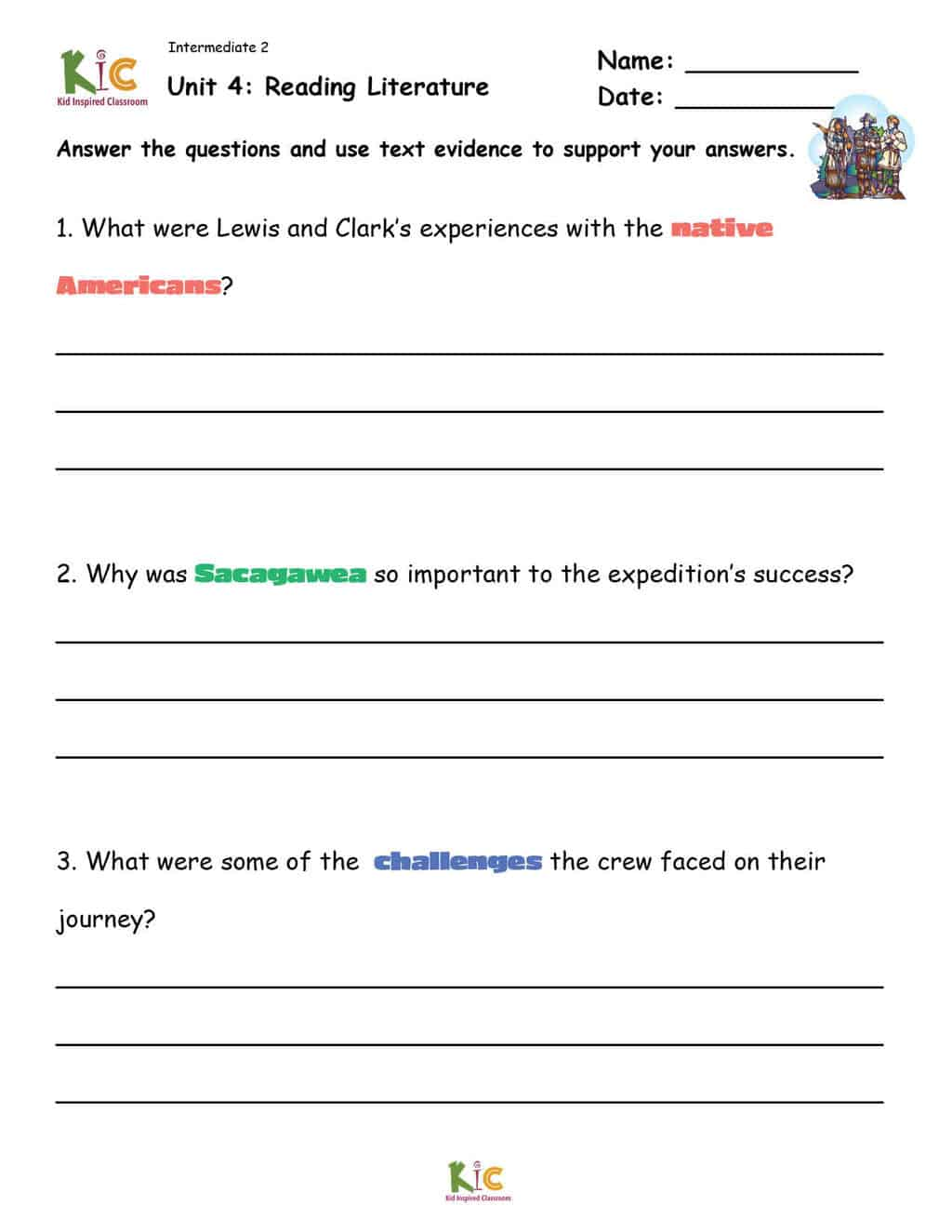Lewis and Clark Reading Comprehension Questions for ESL Reading Comprehension