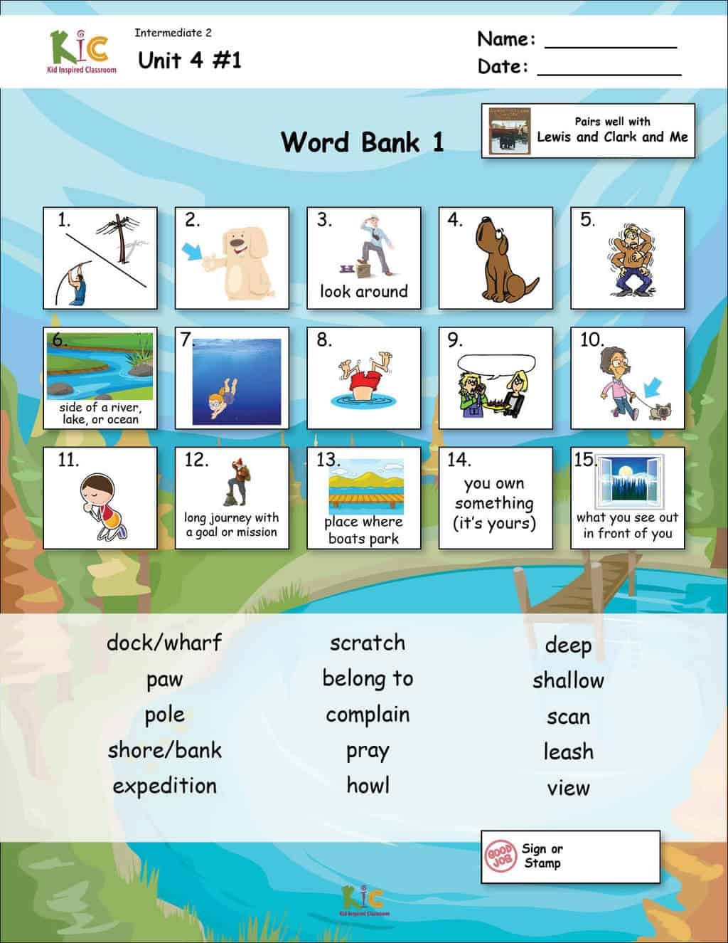 Lewis and Clark ESL Vocabulary for Teaching ESL from the ESL Curriculum Page 1