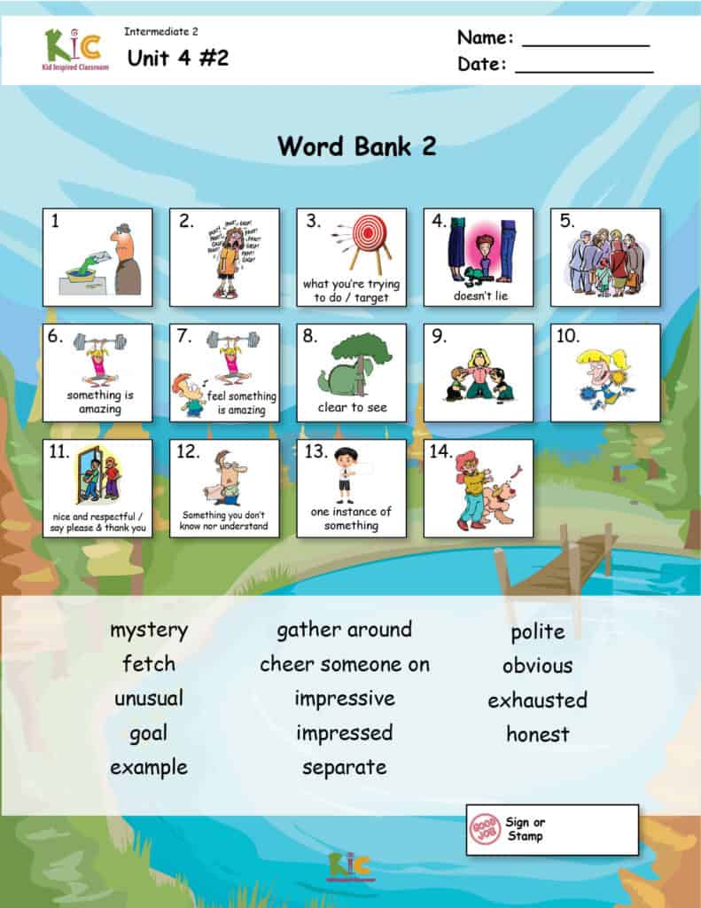 Lewis and Clark ESL Vocabulary for Teaching ESL from the ESL Curriculum Page 2