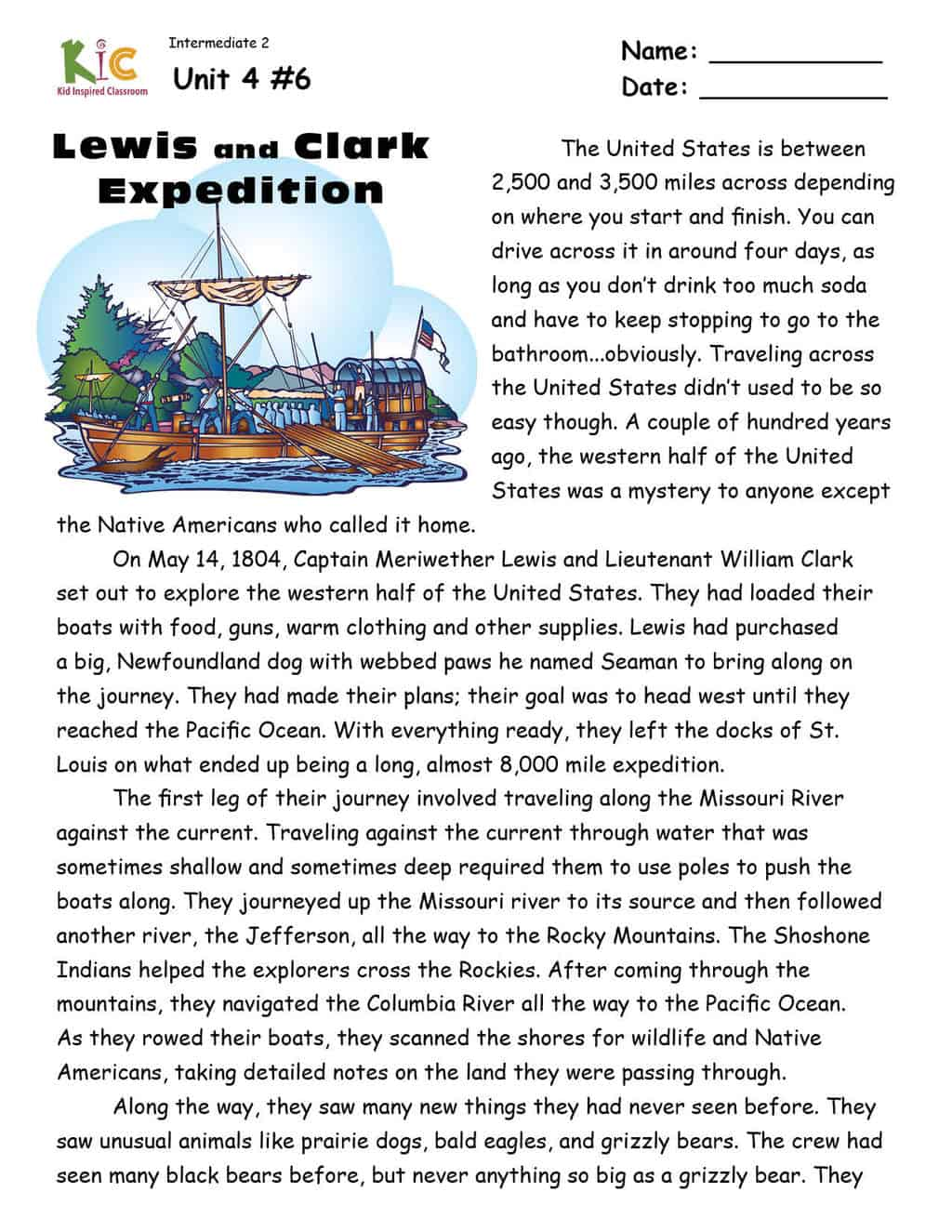 ESL Reading Comprehension on Lewis and Clark Passage from the ESL Curriculum Membership