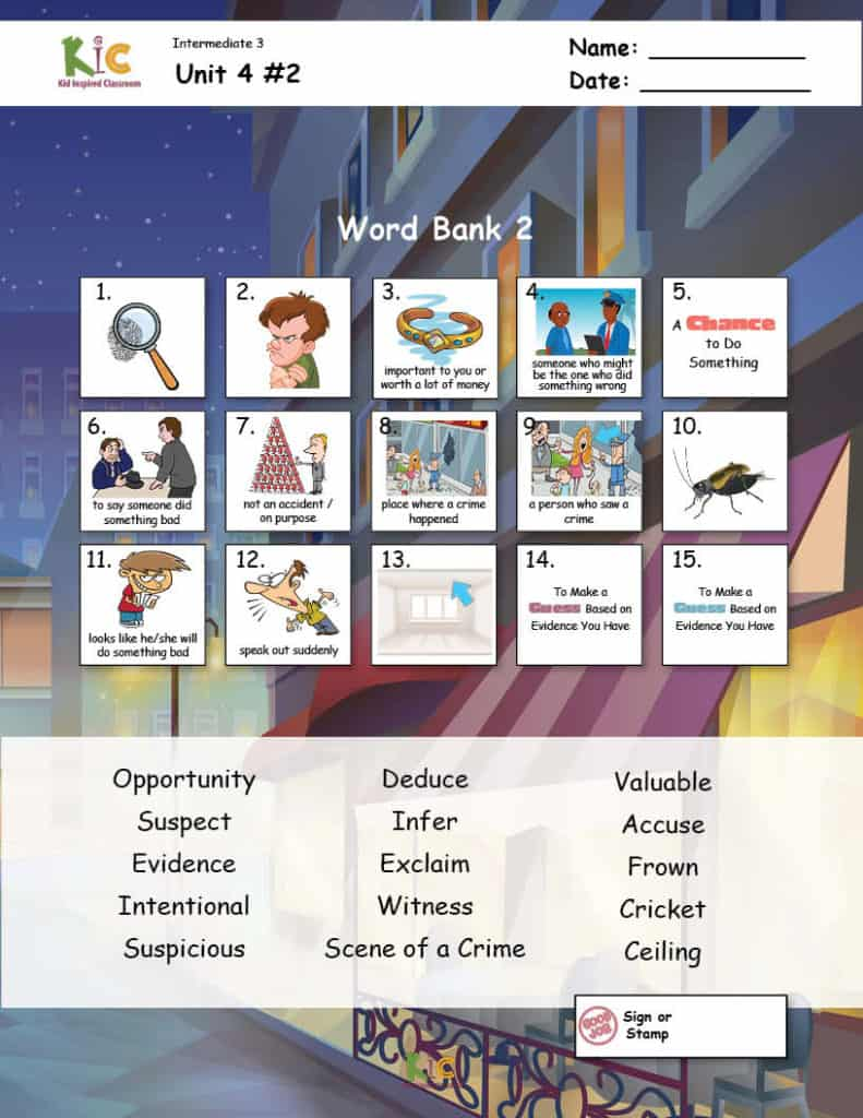 Vocabulary Academic Practice Page from the ESL Curriculum Membership